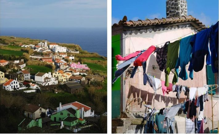 Esquerda: O sol da manhã ilumina uma freguesia da ilha de São Miguel. Antes da pandemia, ...