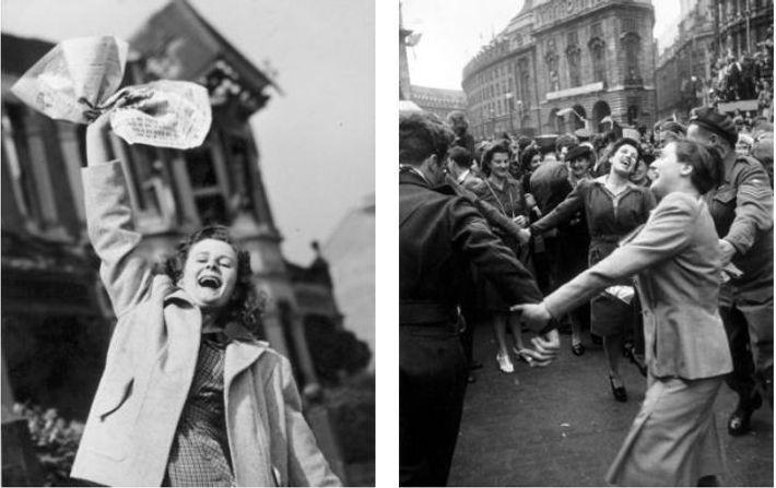 Londrinos celebram a rendição da Alemanha no dia 8 de maio de 1945 – no dia ...