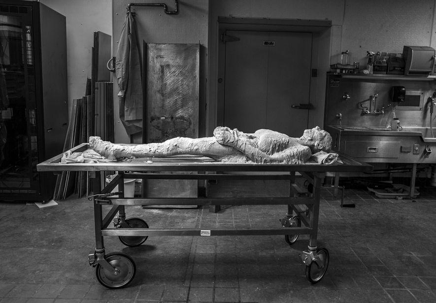 Envolto em álcool polivinílico, o corpo de Susan Potter, doado à ciência, aguarda a congelação. O ...