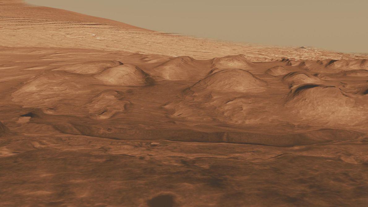 O sopé da montanha na Cratera Gale.