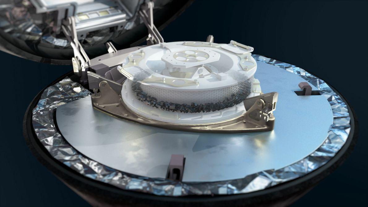 Assim que a equipa da OSIRIS-REx confirmar a aquisição de amostras, o braço do mecanismo TAGSAM ...