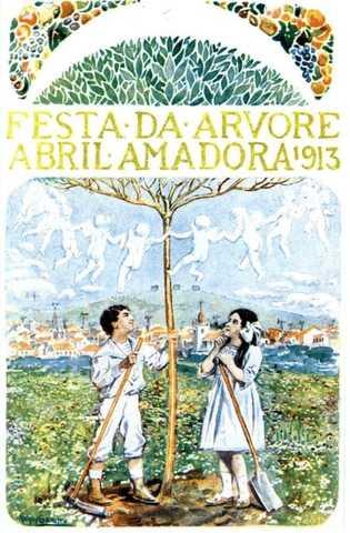 Cartaz da Festa da Árvore na Amadora em 1913