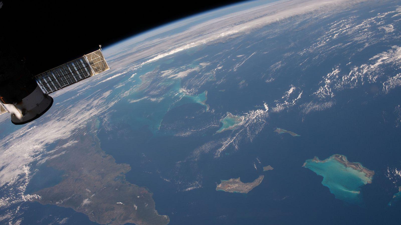 Vista das Caraíbas da Estação Espacial Internacional.