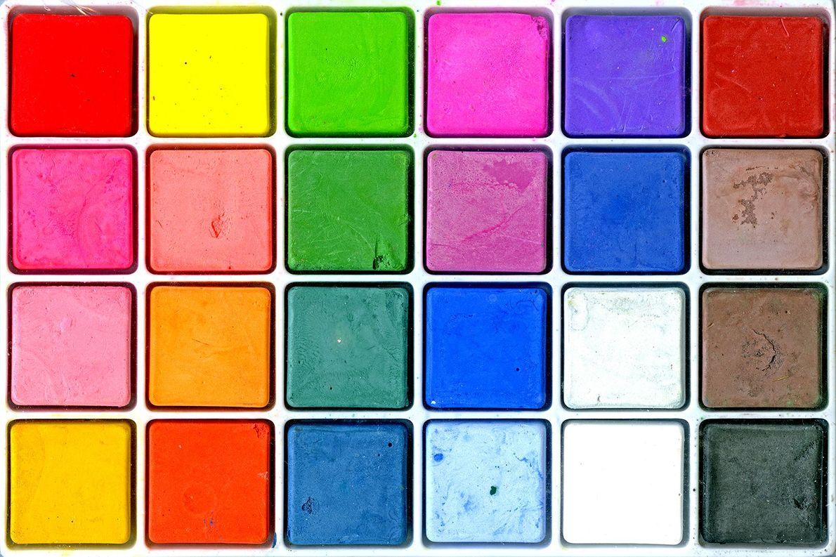 Frankel utiliza muitas vezes fundos, como esta paleta de cores, como elementos de composição.