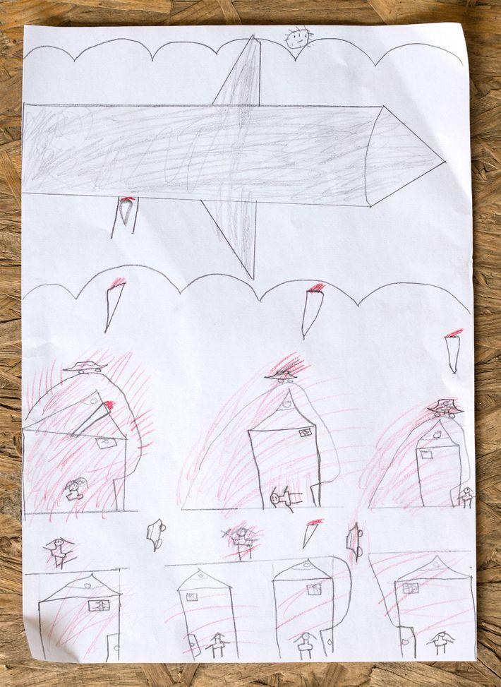 Noor Almohamad, de 12 anos, desenhou a fuga da família da Síria.