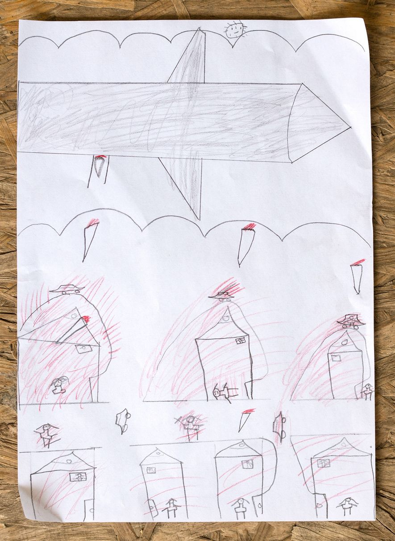 Noor Almohamad, de 12 anos, desenhou a fuga da família da Síria. A sua casa foi ...