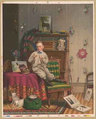 uma litografia de uma pintura de 1869