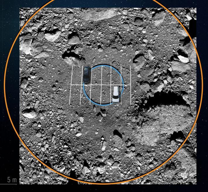 Guiada por um mapa digital, a OSIRIS-REx voou entre pedras enormes que rodeiam a zona de ...