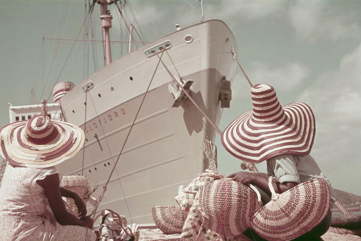 Navio a vapor nas Ilhas Virgens