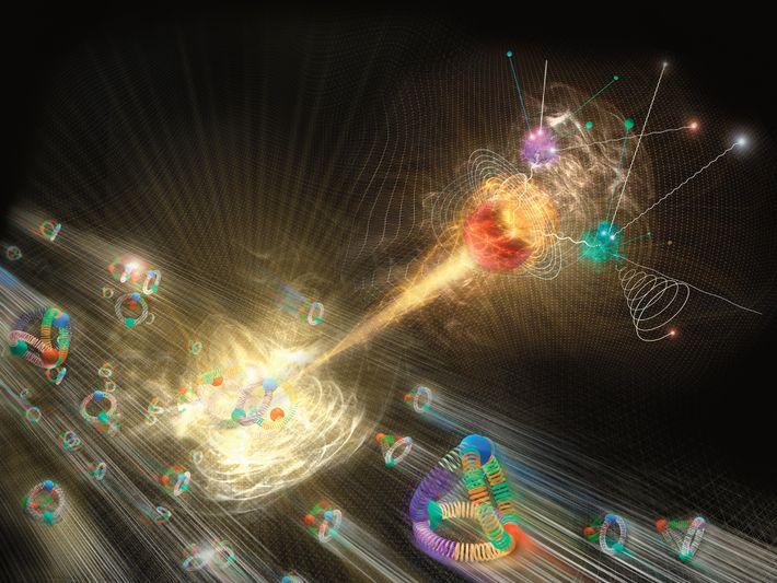 Nesta ilustração podemos observar o bosão de Higgs a emergir de uma colisão de protões.