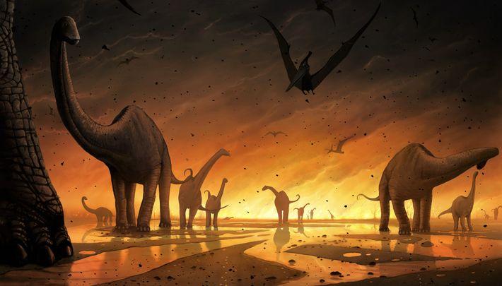 Uma ilustração dos dinossauros a fugirem do impacto de um meteorito.