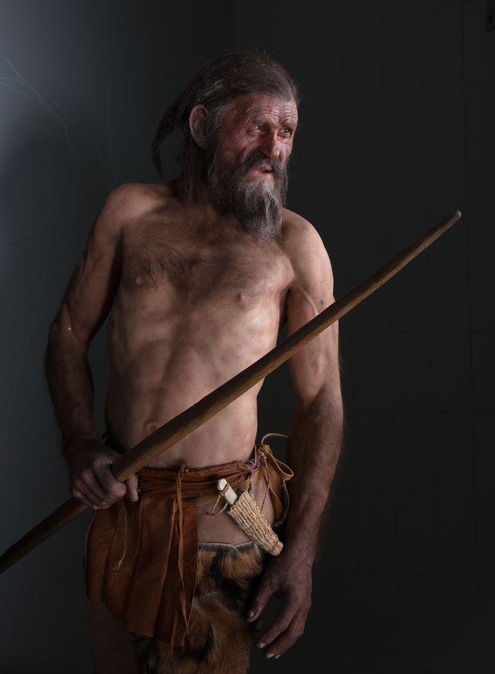 Um modelo à escala real do Ötzi, o Homem do Gelo.