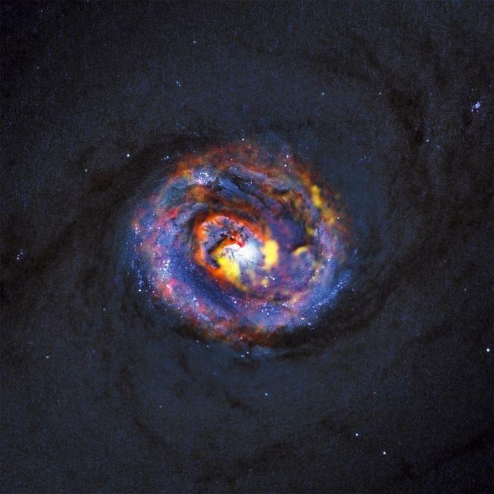 Uma forma de espiral surpreendente na galáxia próxima ativa NGC 1433, acima representada, indica material que ...
