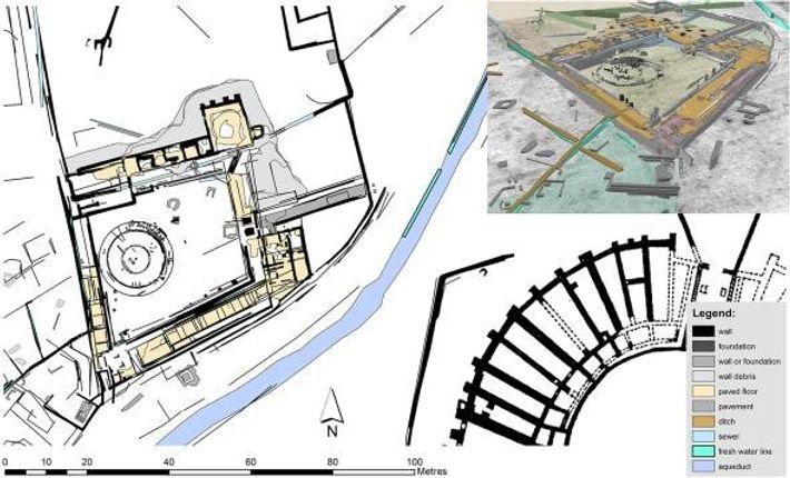 O mapa da escola de gladiadores revela que se assemalhava a uma fortaleza ou prisão.