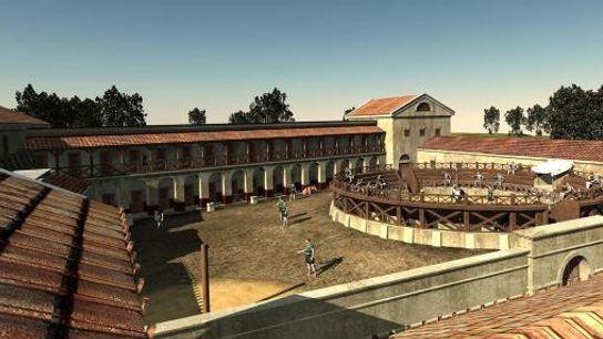 Esta ilustração mostra os restos quase intactos da escola para gladiadores encontrada em Carnuntum na zona ...