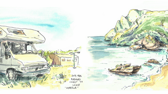 Autocaravana na Costa da Caparica (à esquerda) e Praia da Ribeira do Cavalo (à direita).