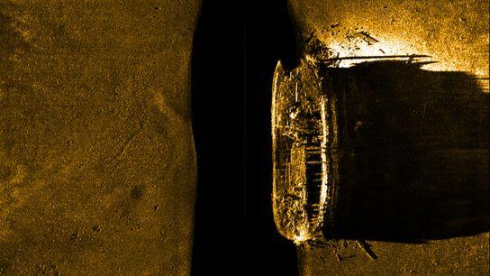 Uma imagem de sonar de um naufrágio descoberto no Ártico no Canadá é um dos dois ...