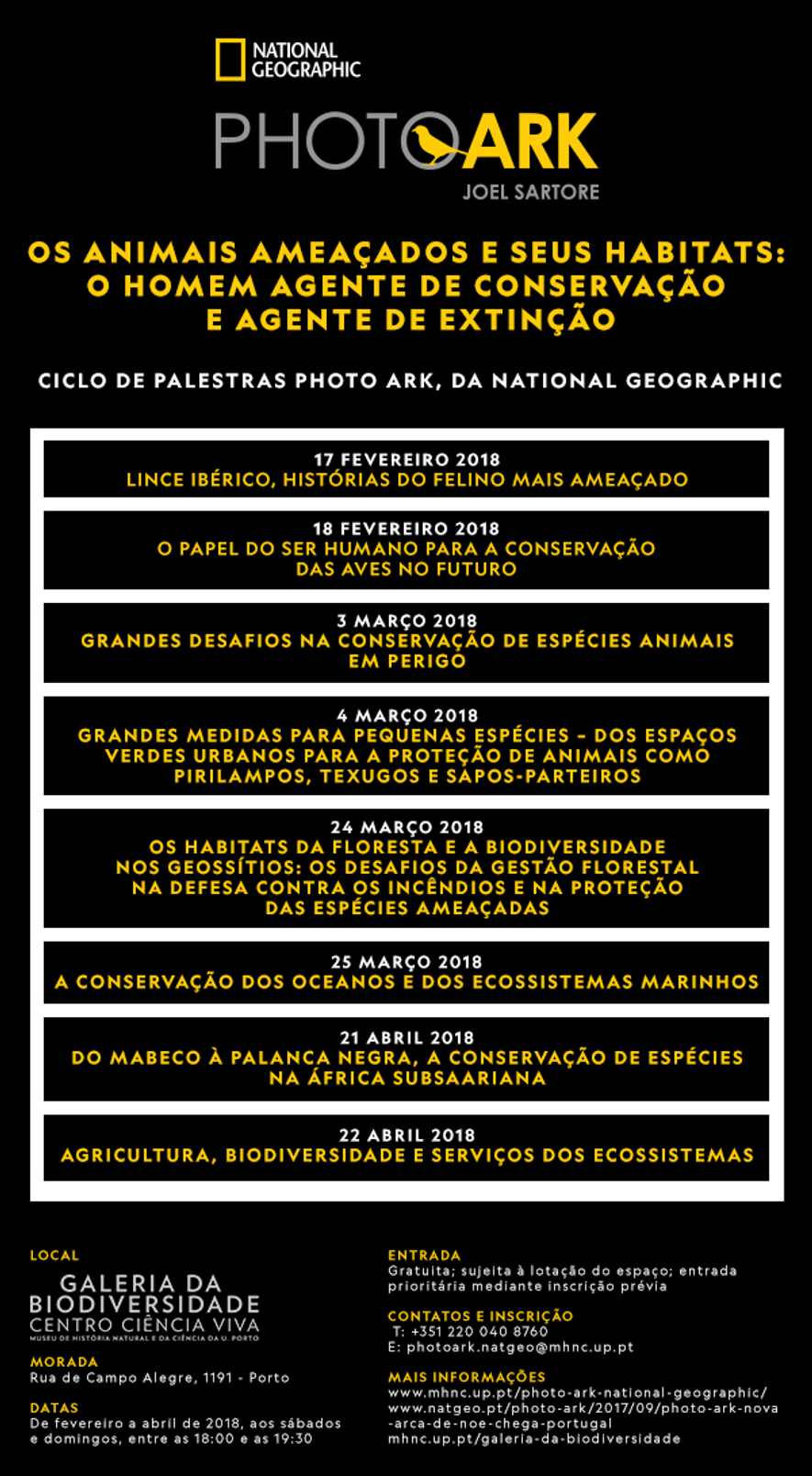 Ciclo de Palestras Photo Ark