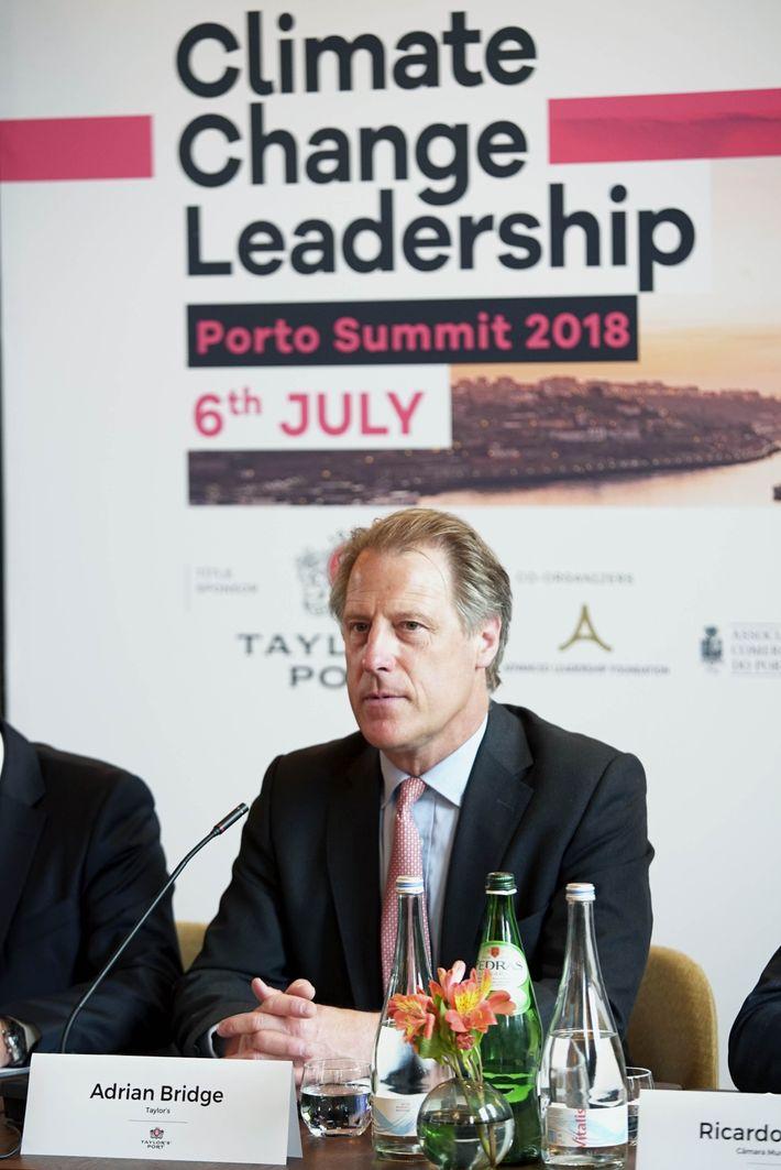 Adrian Bridge na apresentação da Climate Change Leadership Porto Summit 2018.