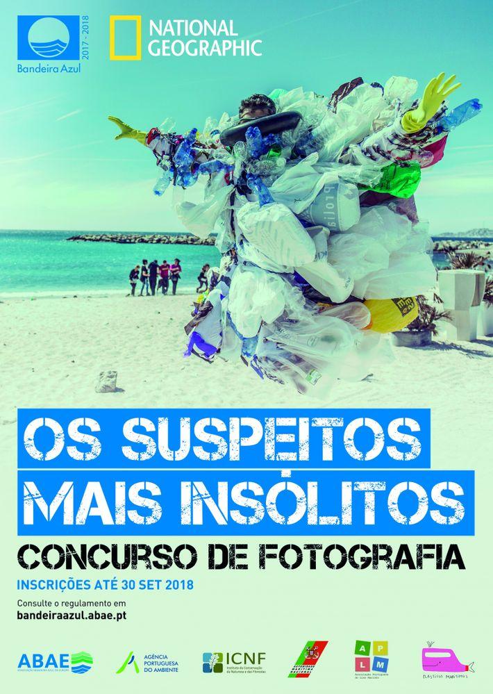 Cartaz do passatempo da Bandeira Azul e da National Geographic intitulado'Os Suspeitos Mais Insólitos'