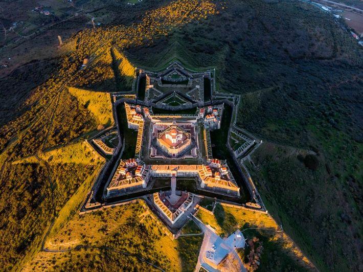 Vista aérea do forte de Nossa Senhora da Graça, em Elvas