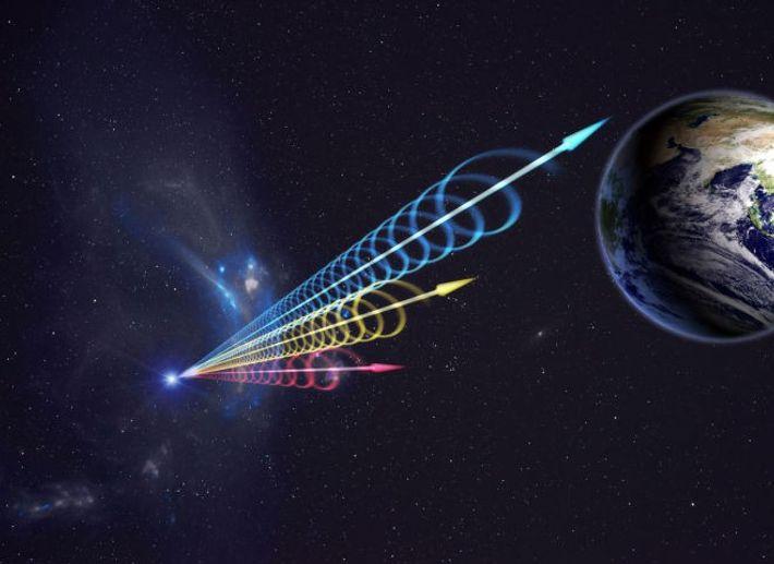 Ideia artística de uma Rajada Rápida de Rádio (FRB) a atingir a Terra.
