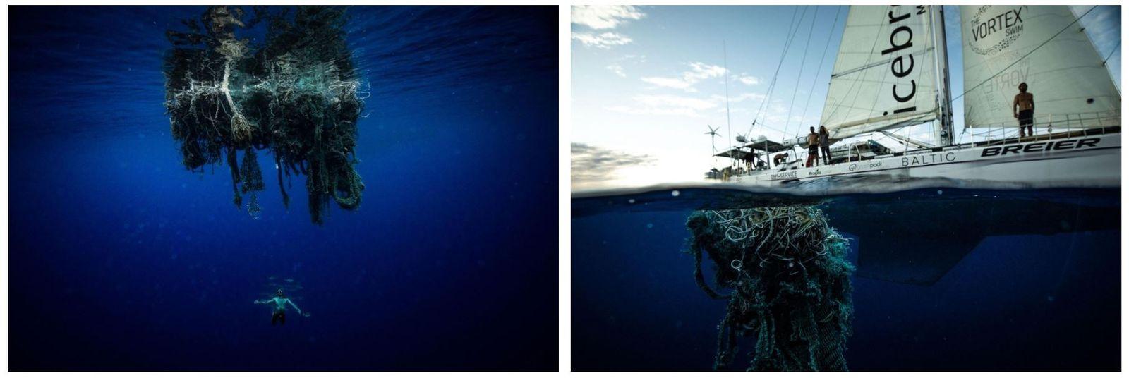 """Esquerda: Um membro da equipa de Lecomte a nadar debaixo de uma """"rede fantasma"""", uma rede ..."""