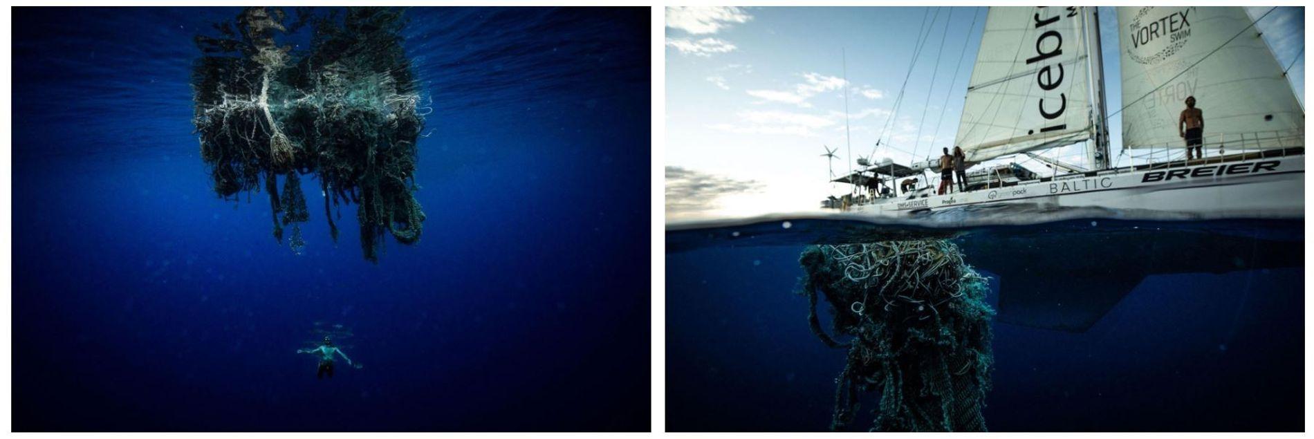"""Esquerda: Um membro da equipa de Lecomte a nadar debaixo de uma """"rede fantasma"""", uma rede de pesca perdida ou atirada ao mar pelas tripulações de embarcações pesqueiras. As redes enleiam-se na vida marinha e, por vezes, afastam as criaturas dos ecossistemas costeiros, levando-as para o mar alto. Direita: O veleiro de 20 metros de Lecomte, a sua base durante as longas semanas de natação, desliza sobre uma """"rede fantasma"""". No Depósito de Lixo, muitos dos detritos encontrados pela equipa são materiais de pesca abandonados."""