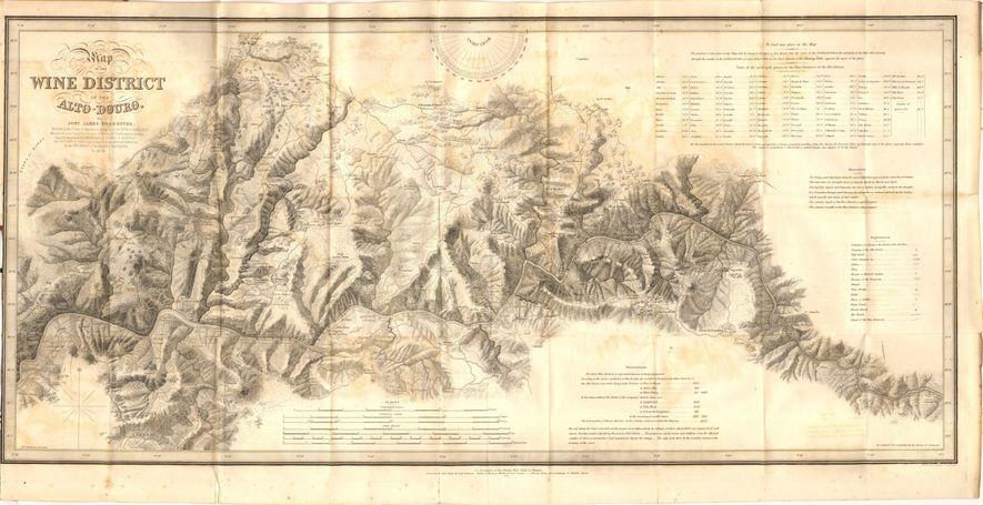 Mapa da região demarcada do Alto-Douro por Barão Joseph James Forrester.
