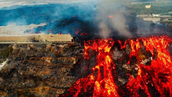 A fajã de lava vista por um drone