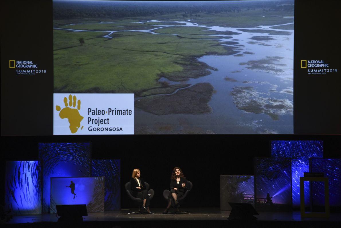 Vista frontal do palco no National Geographic Summit 2018