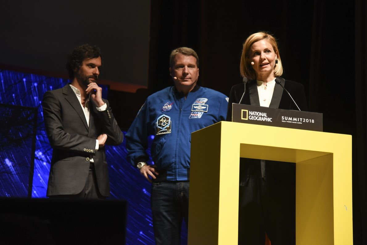 Mariana van Zeller, Terry Virts e Luis Fernambuco no National Geographic Summit 2018