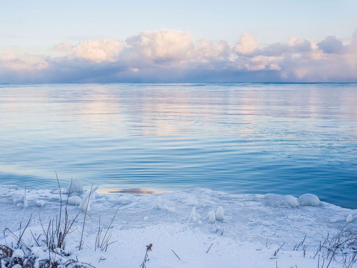 Lago Huron, no estado do Michigan.