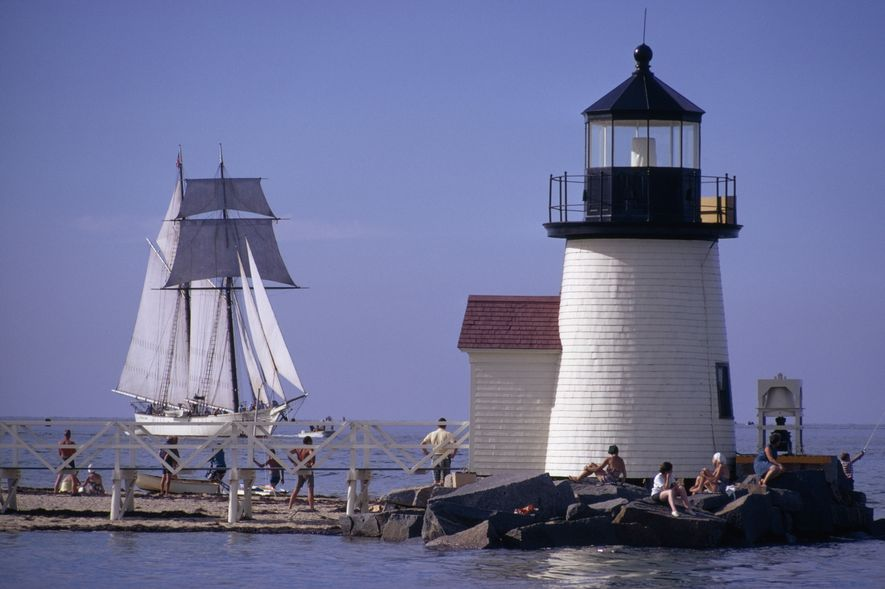 Farol de Brant Point, Nantucket Island, em Massachusetts.