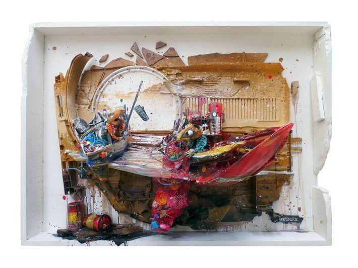 """Obra de Bordalo II, da série """"World Gone Crazy"""""""