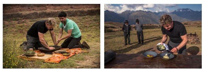 Esquerda: Gordon Ramsay (Esquerda) e o chef peruano, Virgilio Martinez, cozinham juntos uma refeição no Vale ...