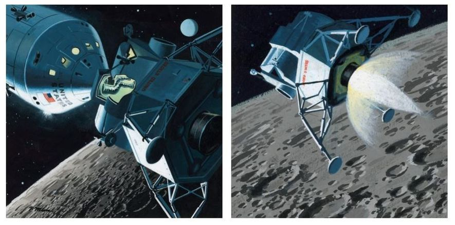 MÓDULO LUNAR A ORBITAR A LUA, MARÇO DE 1964 Estas ilustrações mostram as expetativas da NASA para ...