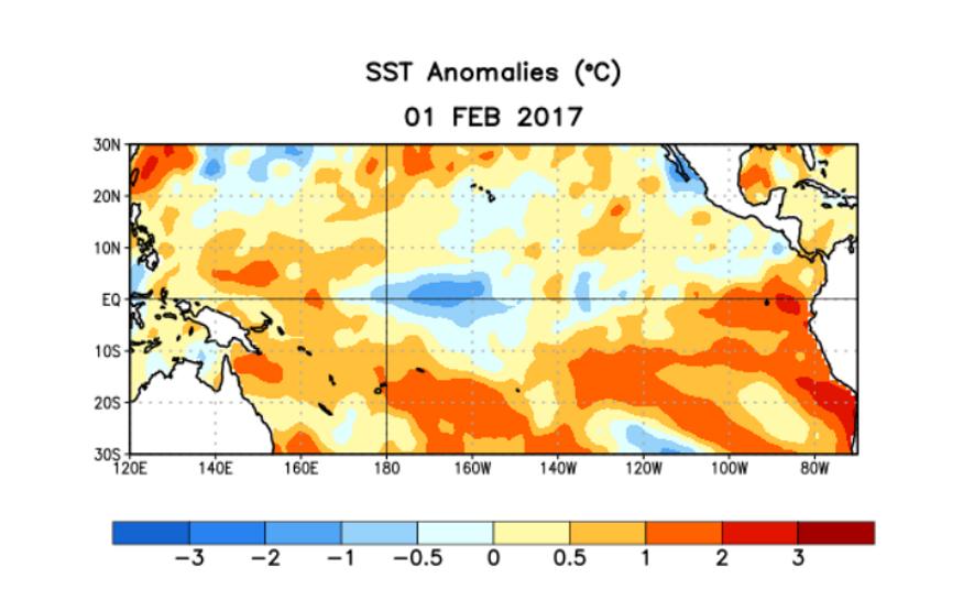 Anomalias das temperaturas médias da superfície do mar (TSM) na semana de 1 de fevereiro de ...