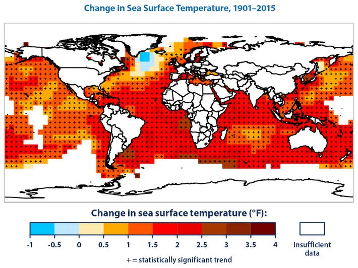 Mudança na temperatura da superfície marítima