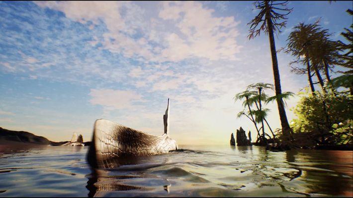 Animação de Um Espinossauro a Nadar