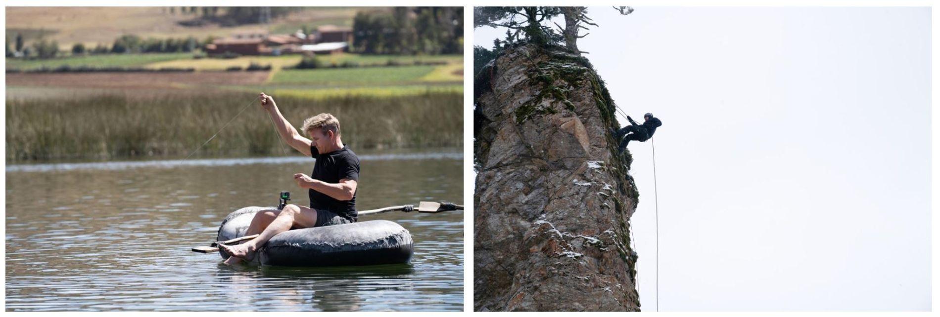 Esquerda: Gordon Ramsay num barco simples, a pescar no lago Huaypo, no Peru. Direita: Depois de um ...