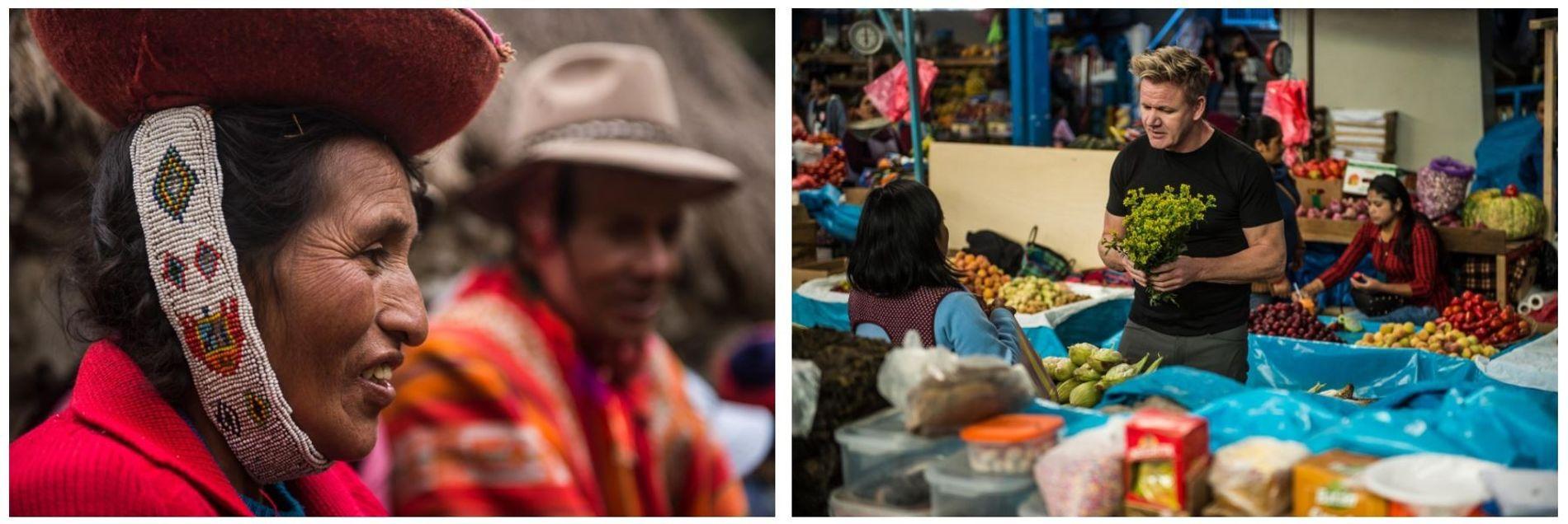 Esquerda: Uma família de agricultores, no Vale Sagrado do Peru, ensina a Gordon Ramsay algumas das ...