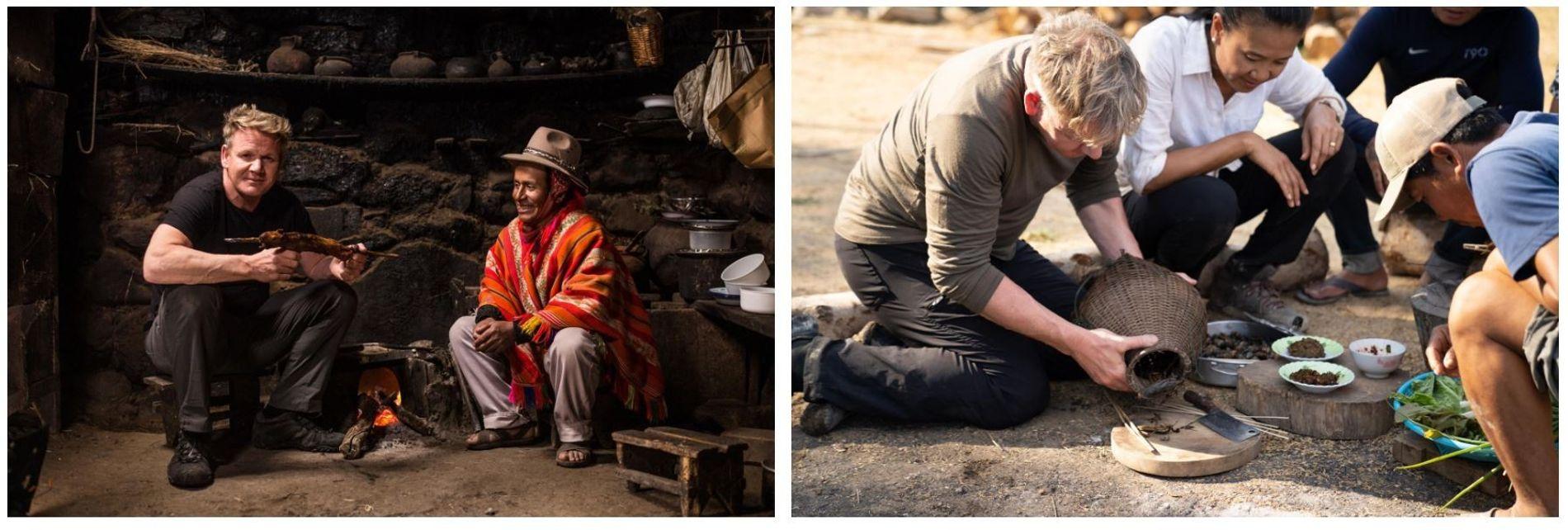 Esquerda: Gordon Ramsay com Mario, um agricultor local no Peru, antes de provar uma refeição tradicional: ...