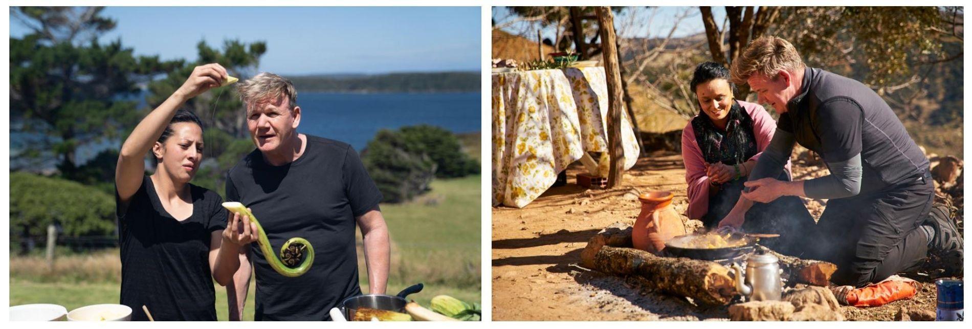 """Esquerda: A chef neozelandesa, Monique Fiso, ensina Gordon Ramsay a preparar """"Mamaku Frond"""", um ingrediente tradicional. Direita: ..."""