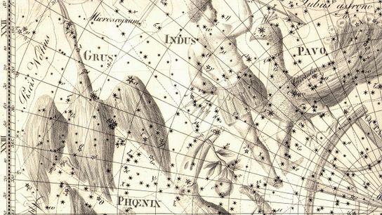 Parte da representação da constelação do Índio e outras