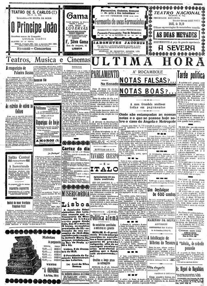 """""""A Capital"""", publicação de 8 de dezembro de 1925."""