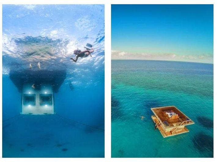 Esquerda: Na ilha de Pemba, ao largo da costa de Zanzibar, pode ficar num quarto submerso, ...