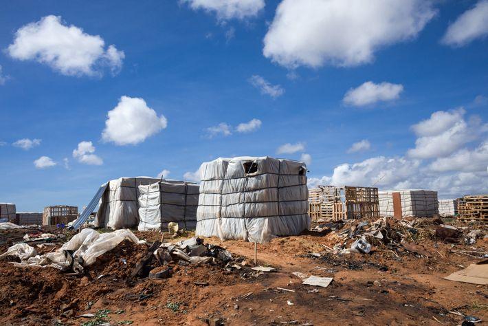 Embaladas e atadas como se fossem caixas de carga gigantes, estas barracas abrigam trabalhadores migrantes que ...
