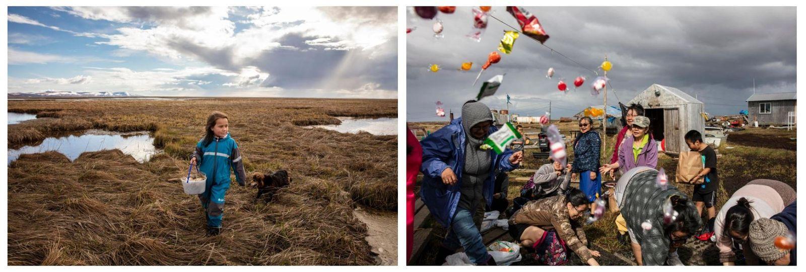 Esquerda: Kaliegh Charles recolhe ovos de ganso com a sua família ao longo do rio Ninglick. ...