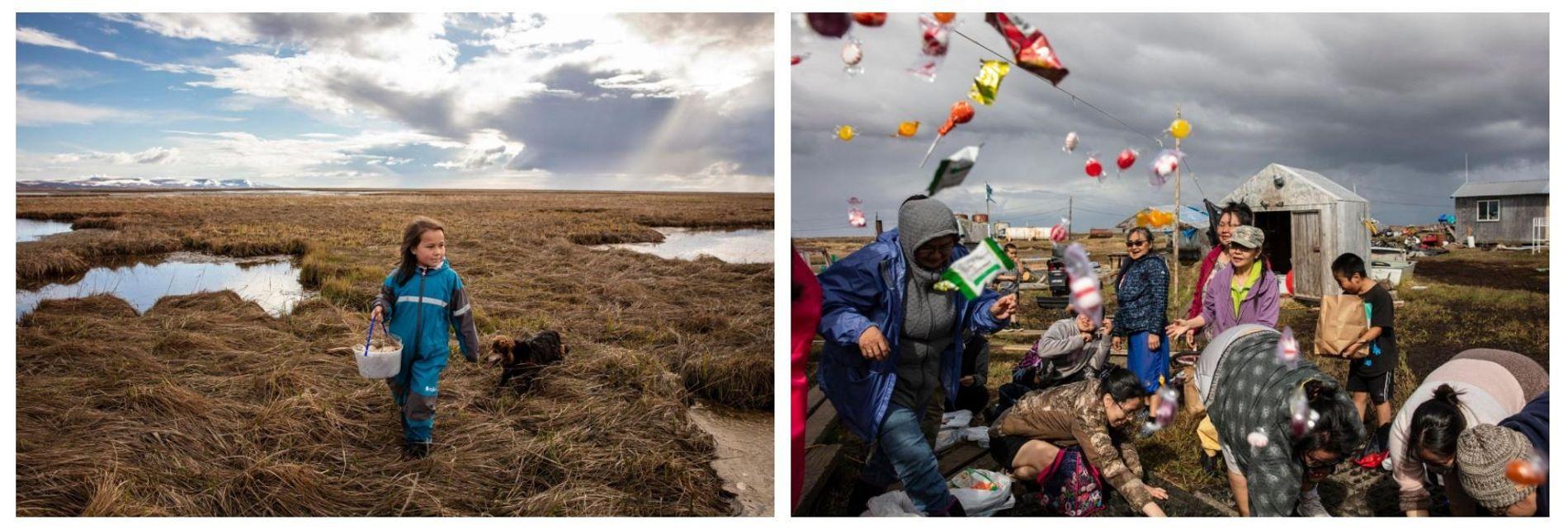 Esquerda: Kaliegh Charles recolhe ovos de ganso com a sua família ao longo do rio Ninglick. As práticas baseadas em subsistência, como a recolha de ovos, a caça e a pesca, são um modo de vida crucial nesta região, não só em termos culturais e económicos, como nutritivos e de sobrevivência. Direita: As mulheres reúnem-se na casa de Lisa e Jeff Charles para uma celebração de caça tradicional, após a primeira caçada bem-sucedida da filha Rayna.